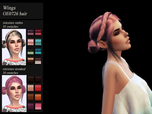 The Sims Resource: Wings OE0726 hair recolored by Jenn Honeydew Hum for Sims 4
