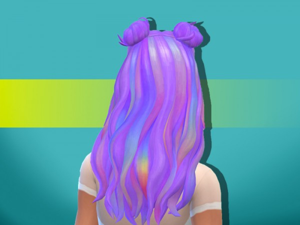 The Sims Resource: Kacey Space Buns hair retextured by anastasiac21 for Sims 4