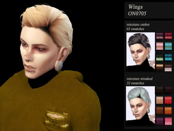 The Sims Resource: Wings ON0705 hair retextured by Jenn Honeydew Hum for Sims 4