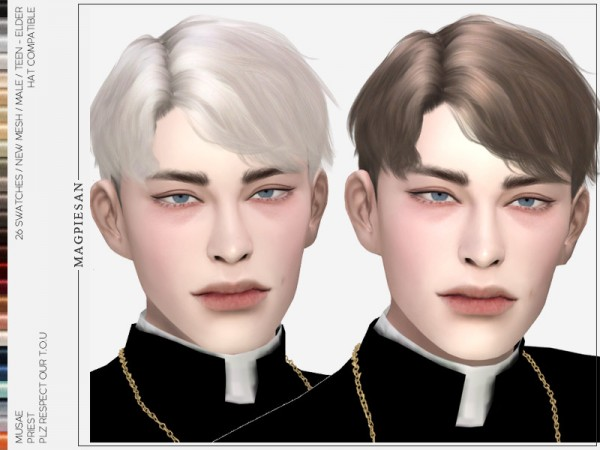 The Sims Resource: Priest Hair by magpiesan for Sims 4