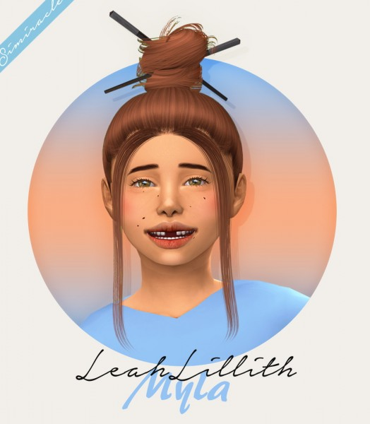 Simiracle: LeahLillith`s Myla hair retextured   Kids Version for Sims 4
