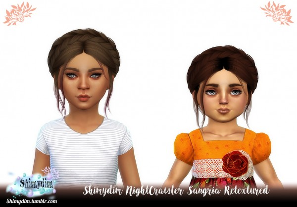 Shimydim: Nightcrawler`s Sangria hair retextured for Sims 4