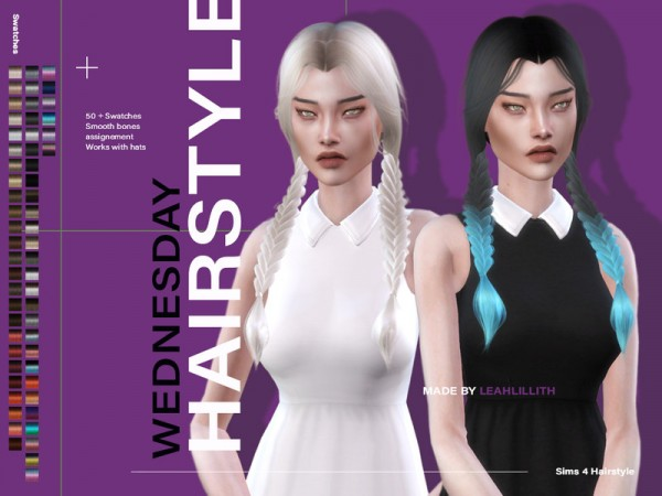 The Sims Resource: Wednesday Hair by Leah Lillith for Sims 4