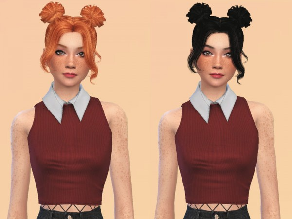 The Sims Resource: Tsminh`s Yasmin hair retextured by ncggsimmer for Sims 4