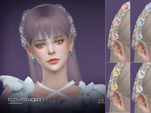 The Sims Resource: Hair N49 flower hairpin by S Club for Sims 4