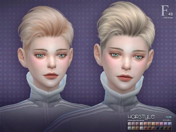 The Sims Resource: Gun n48 hair by S Club for Sims 4