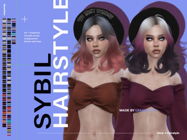 The Sims Resource: Sybil Hair by  Leah Lillith for Sims 4