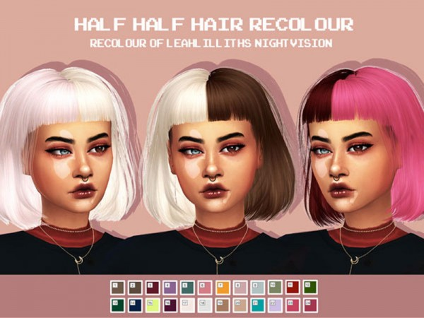 The Sims Resource: LeahLillith`s NightVisionHair Half Half Hair Recolored for Sims 4