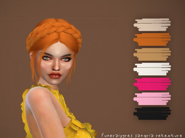 The Sims Resource: Nightcrawler`s Sangria hair retextured by funeraipyres for Sims 4