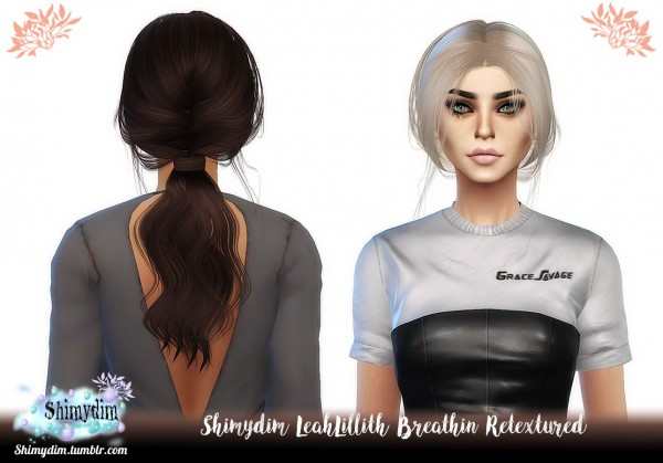 Shimydim: LeahLillith`s Breathin hair retextured for Sims 4