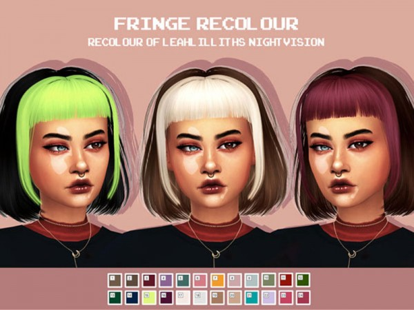 The Sims Resource: LeahLillith`s NightVisionHair Fringe Hair Recoloured by CosmicCC for Sims 4