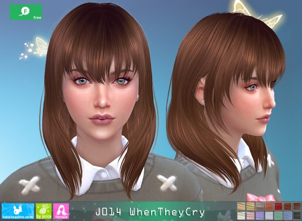 NewSea: J014 When Then Cry Hair for Sims 4