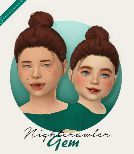 Simiracle: Nightcrawler`s Gem hair retextured   kids and toddlers for Sims 4