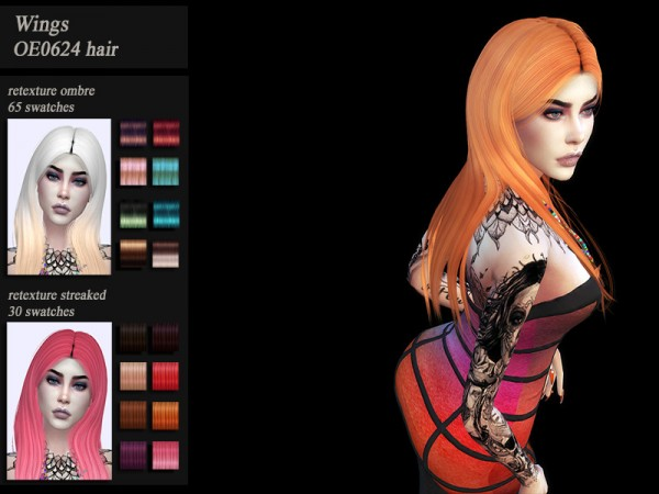 The Sims Resource: Wings OE0624 hair retextured by Jenn Honeydew Hum for Sims 4