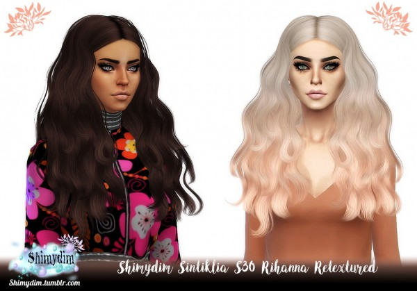 Shimydim: Sintiklia`s Rihanna Hair Retextured for Sims 4