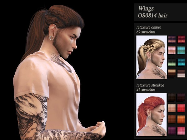 The Sims Resource: Wings OS0814 hair retextured by Jenn Honeydew Hum for Sims 4