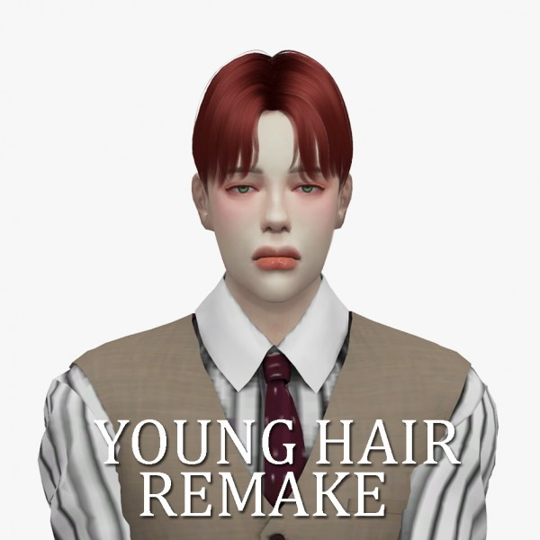 Minzza: Young hair remake for Sims 4