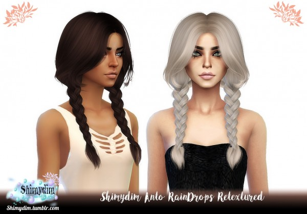 Shimydim: Anto`s Rain Drops Hair retextured for Sims 4