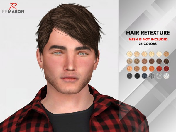 The Sims Resource: ON0928 Hair Retextured by remaron for Sims 4