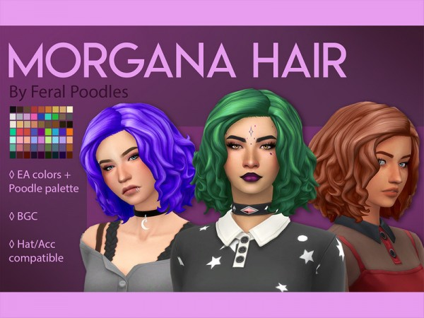 The Sims Resource: Morgana Hair Retexyured by feralpoodles for Sims 4
