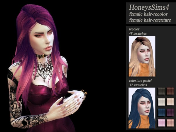 The Sims Resource: Wings ON0726 Hair retextured by Jenn Honeydew Hum for Sims 4