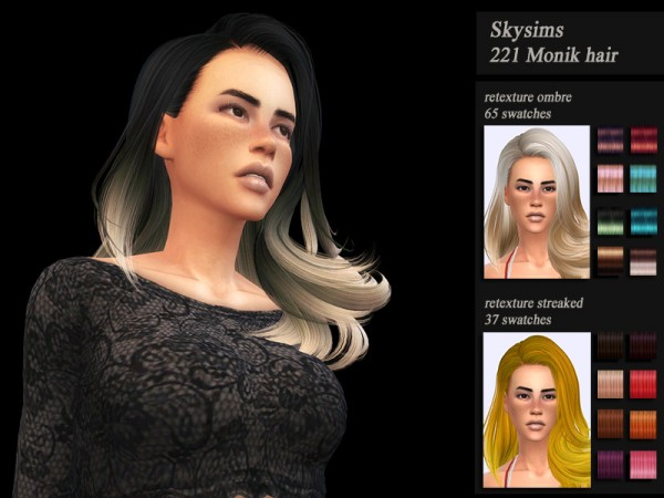 The Sims Resource: Skysims 221 hair retextured by Jenn Honeydew Hum for Sims 4