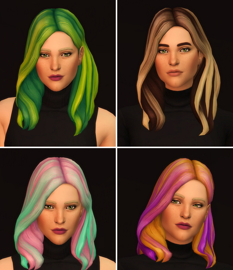 Rusty Nail: Wavy Hair Edit Ombre for Sims 4