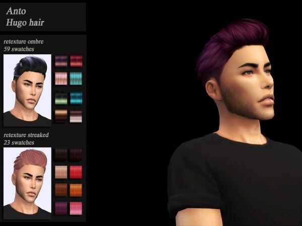 The Sims Resource: Anto`s Hugo Hair Retextured by Jenn Honeydew Hum for Sims 4