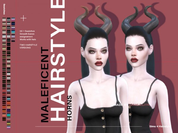 The Sims Resource: Maleficent Hair by LeahLillith for Sims 4