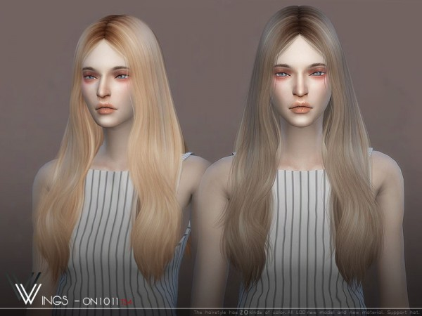The Sims Resource: WINGS ON1011 hair for Sims 4