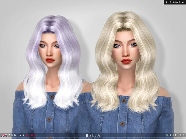The Sims Resource: Bella Hair 99 by TsminhSims for Sims 4