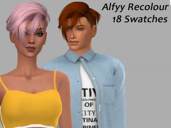 The Sims Resource: Anto`s Echo Hair Recolored by Alfyy for Sims 4