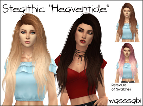 Wasssabi Sims: Stealthic`s Heaventide hair retextured for Sims 4