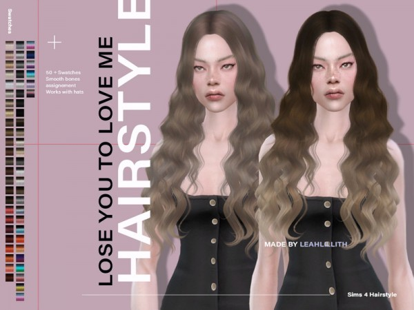 The Sims Resource: Lose You To Love Me Hair by Leah Lillith for Sims 4