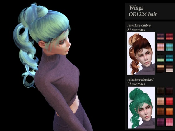 The Sims Resource: Wings OE1224 hair retextured by HoneysSims4 for Sims 4