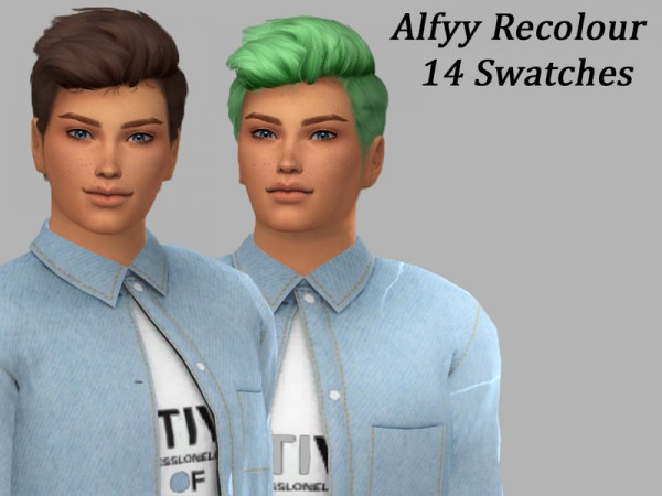 The Sims Resource: WINGS OS0508 hair recolored by Alfyy for Sims 4