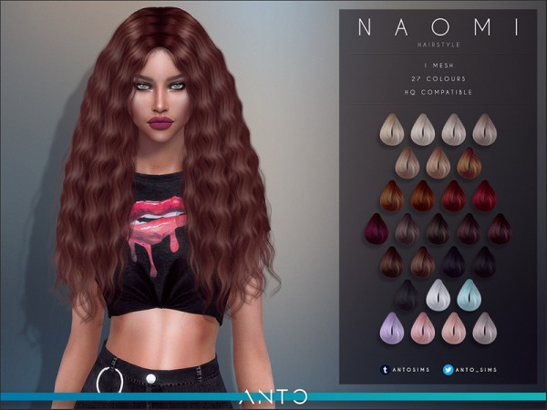 The Sims Resource: Naomi hair by Anto for Sims 4