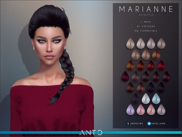 The Sims Resource: Marianne hair by Anto for Sims 4