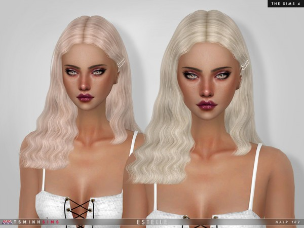 The Sims Resource: Estelle Hair 102 by TsminhSims for Sims 4