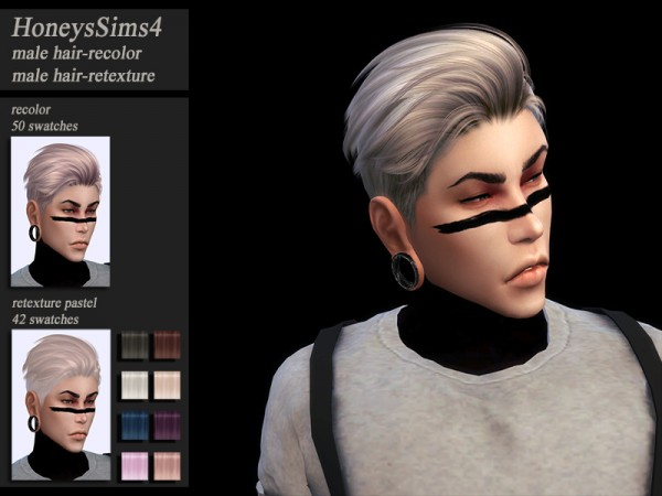 The Sims Resource: S Club GUN hair retextured by HoneysSims4 for Sims 4