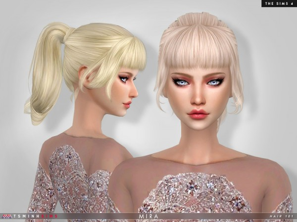 The Sims Resource: Mira Hair 101 by TsminhSims for Sims 4