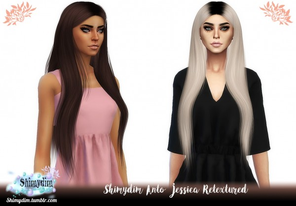 The Sims Resource: Anto`s Jessica hair retextured for Sims 4