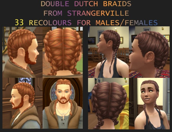Mod The Sims: 33 Double Dutch Braids Hair Recolours by Simmiller for Sims 4