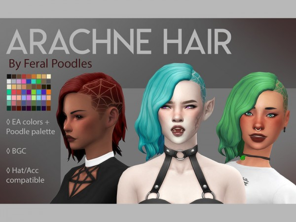 The Sims Resource: Arachne Hair by feralpoodles for Sims 4