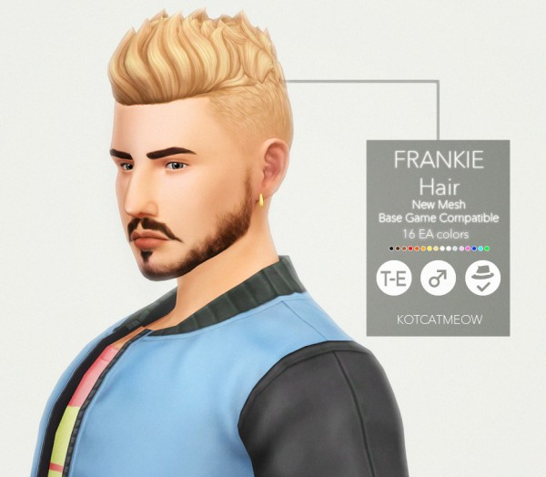 Kot Cat: Frankie hair for Sims 4