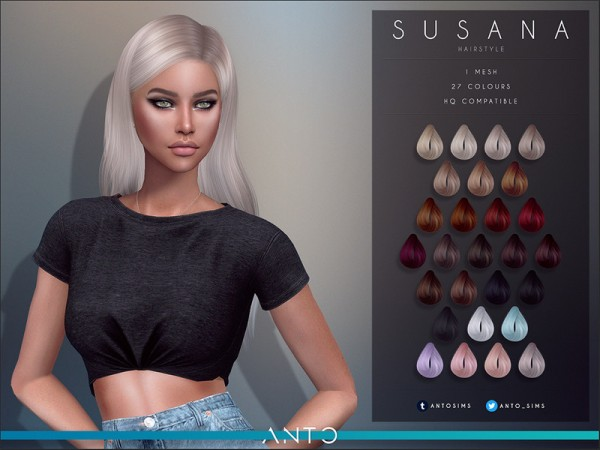 The Sims Resource: Susana hair by Anto for Sims 4
