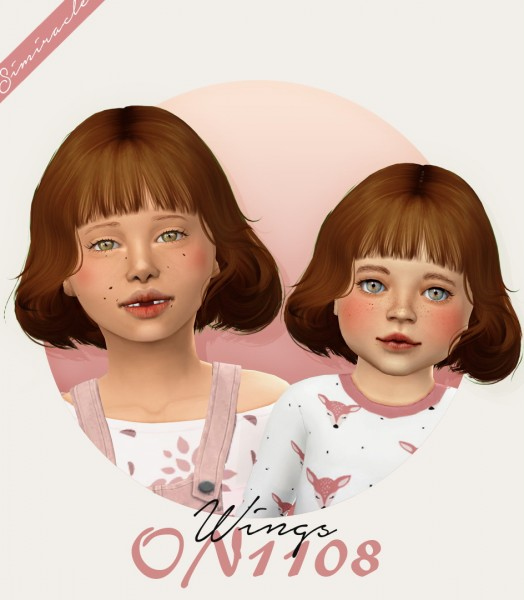 Simiracle: Wings ON1108 hair retextured kids and toddlers version for Sims 4
