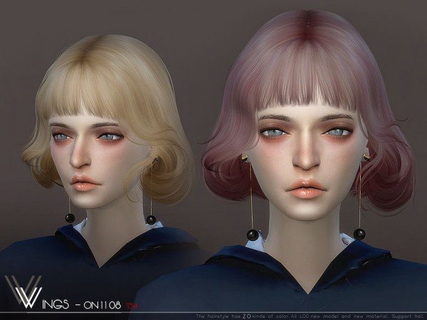 The Sims Resource: WINGS ON1108 hair for Sims 4