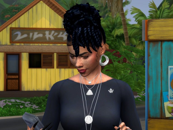 The Sims Resource: Twisted Updo Natural hair retextured by drteekaycee for Sims 4