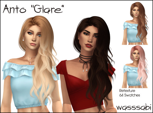 Wasssabi Sims: Anto`s Clare hair retextured for Sims 4